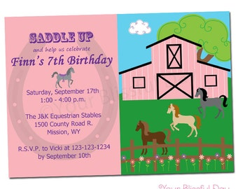 PRINTABLE Girl Equestrian Party Invitation #527