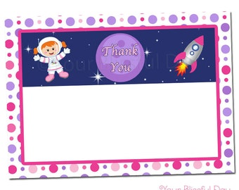 PRINTABLE Girl Astronaut Thank You Cards (Character of your choice) #532