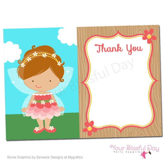 PRINTABLE Fairy Thank You Cards (Character of your choice) #528