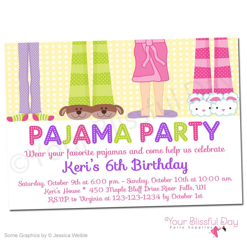 PRINTABLE Girl Pajama Party Invitations 563