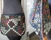 Exquisite Antique Turkmen Tribal Hand Embroidered ZipTop Shoulder Bag