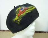 Hat-Handmade  black and red Recycled Upcycled Wool Hat for Women - Winter & Spring Hat