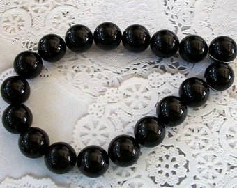 GUMBALL PEARLS Jet Black Acrylic Beads Strand