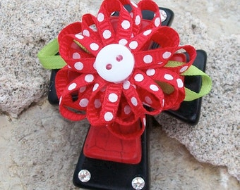 CROSS Large Stacked Black Howlite Stone with Red Stone Cross, Polka Dotted Red Ribbon Bow and Bling