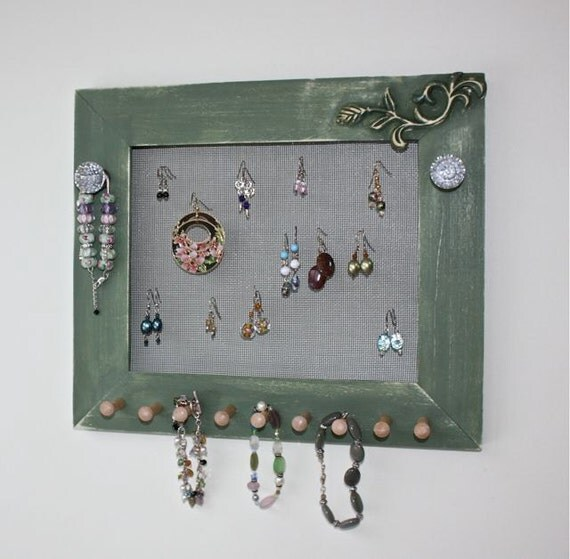 Jewelry wall mount earring holder organizer jewelry frame for for Picture frame organization wall