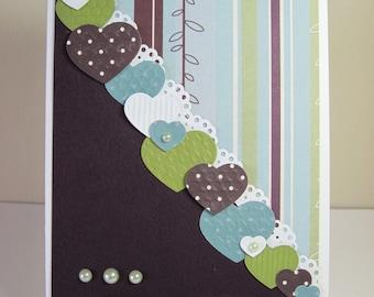 Hearts Blank Handmade Note Card