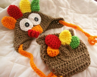 Crochet Turkey Diaper Set, Baby Turkey Diaper Set, Turkey Diaper Set Photo Prop, Thanksgiving Turkey Diaper Set, Animal Hat, CbbCreations