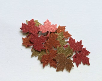 100pcs Thanksgiving Table Scatter, Glittered Die Cut Maple Leaves, Fall Table Confetti, Thanksgiving Decor