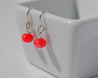 Petite Pink Jade Earrings