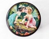 wooden powder box kissing fairies