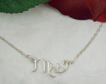 Sterling Silver Mrs Necklace, From Miss to Mrs, Just Married, Wedding Jewelry, Bridal Necklace