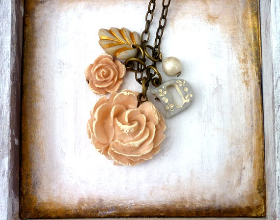 Boho Chic Jewelry - Big Rose and Charms Initial Necklace