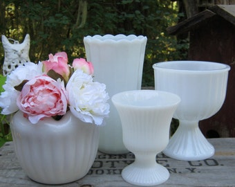 4 Milk Glass Compotes and Vases - White Vases - Ribbed Pattern - Wedding Centerpiece - Oak Hill Vintage