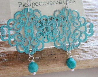 turquoise Filigree Earrings, Bohemian, Blue Patina, Silver, Dangle Drops, Bridesmaid Earrings, Moroccan, Redpeonycreations