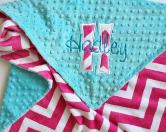 Personalized PINK CHEVRON MINKY Baby Stroller Blanket with Turquoise Dot MInky - Appliqued Initial and Name Embroidered