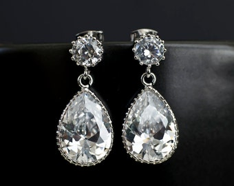 Wedding Earrings, Wedding Jewelry, Bridal Earrings, Silver Clear Round CZ Posts and Large Clear Cubic Zirconia Pear Teardrop Earrings,