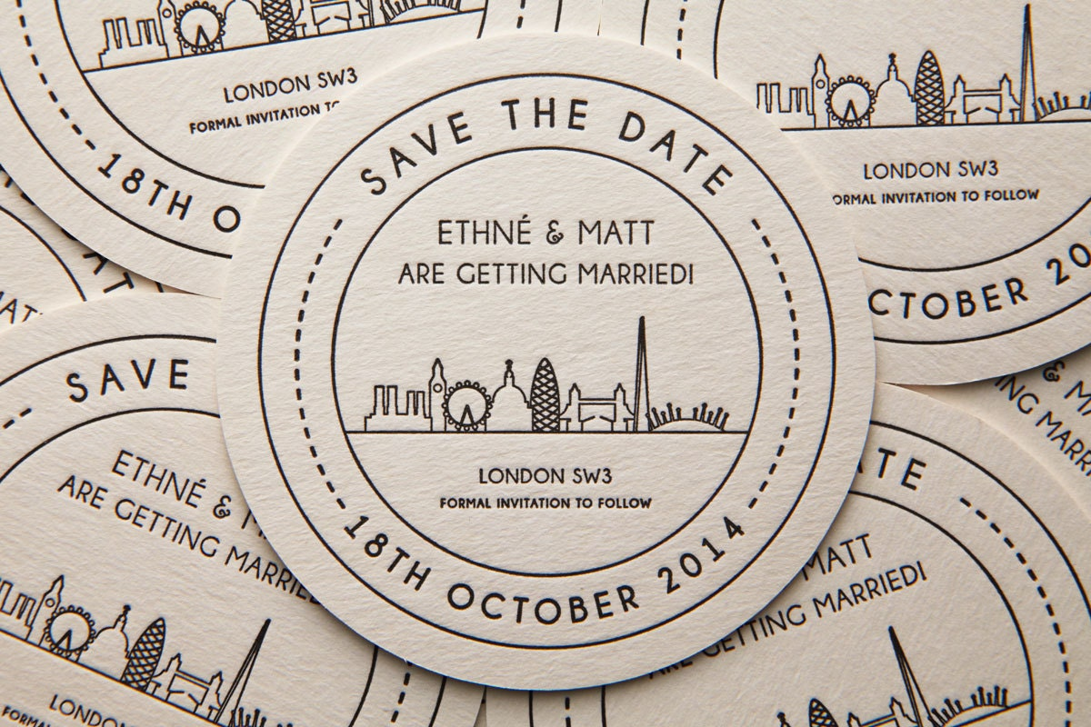 London Landmarks Save The Date Beer Mat