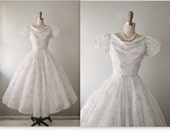 50's Floral Chiffon Dress // Vintage 1950's Flocked Floral Chiffon Prom Wedding Party Dress XS