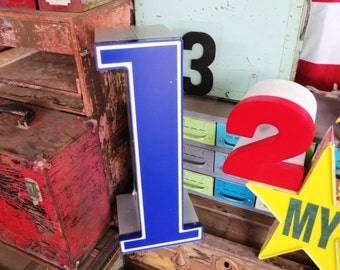 Vintage Marquee Sign Number One 1 or Lowercase Letter 'L': Large, Extra Deep, Blue & White Wall Hanging Initial -- Neon Channel Advertising