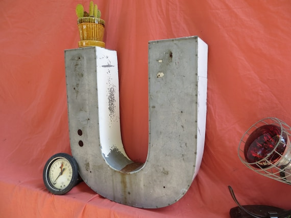 Neon Channel Letter 'U' (or 'J'): Large Reclaimed Distressed White Metal Industrial Salvage Advertising Sign Initial - Capital or Lowercase