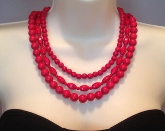 Red necklace, multi strand, statement, big, bold, large natural red howlite stones, chunky, handmade