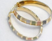 14k tri / multi color yellow rose green white and brown gold  large 7.6 mm wide hoop dangle lever post earrings