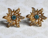 Reserved for Jenny Only ~ Vintage Coro Aqua Rhinestone and Pearl Earrings