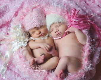 Newborn Twins Photography Props Baby Blanket Photo Prop Twins Hats and Texture Bubble for Doubles