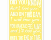 Typography Art Print - Until the End of Time - sunshine yellow white - anniversary wedding valentines day - love song lyrics quote
