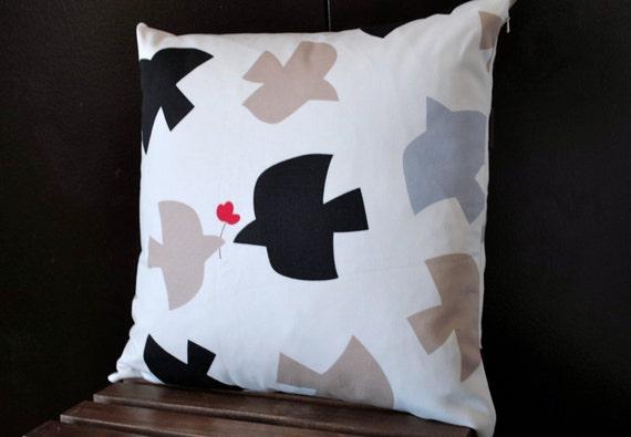 "Birds Cushion cover 18""x18"" -  Decorative throw pillow - Black White Gray Beige"