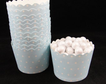 Baby Blue Polka Dot Baking Cups, Candy Cups, Dip Cups, Nut Cups, Weddings, Party Cups, Candy Buffets, Baby Showers - Qty 12