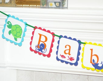 BABY BOY - nautical, under the sea, baby shower banner, sea turtle, octopus, fish, crab, whale, shark