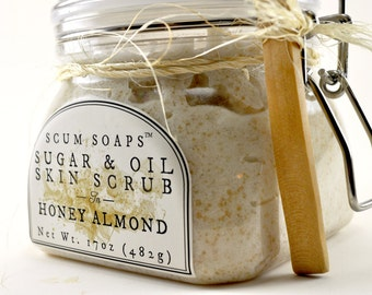 Honey Almond Sugar & Oil Skin Treatment - Natural, Vegan, Sugar Scrub, Olive oil