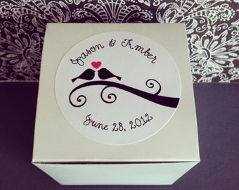 wedding favor boxes, glossy white boxes with love bird stickers, set of 12