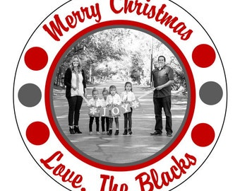 christmas photo stickers, custom Christmas labels--3 sizes available