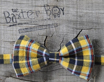 Black & yellow plaid bow tie, little boy bow tie - pre-tied, photo prop, wedding, ring bearer, accessory
