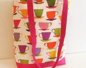 Cotton Tote, Book bag, Teacups, Coffee Cups