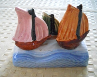 Sailboat Salt and Pepper Shakers - Vintage, Collectible