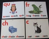 Vintage Old School Large Flash Card - Vowels Consonants - Choice of Frog Chair Queen Cat
