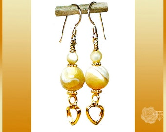 Hook Earrings 10mm 4mm Caramel Mother-of-Pearl Rounds Gold Accents Gold Vermeil Daisy Spacers Open Hearts Charms 14K Gold-Filled Ear Wires