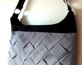 Crossbody purse, Black purse, black shoulder bag, handbag, black and white purse. Woven fabric strips.