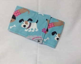 "Male Dog Belly Band Pet Diaper Wrap  Dogs On Blue Flannel Custom Sizes To 12"" Only"