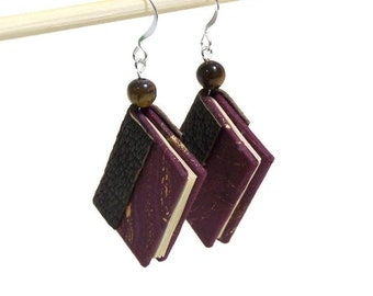 Miniature Book Earrings Burgundy Marbled Paper Chocolate Brown Leather Stone Bead Miniature Book Jewelry Mini Book Silver Wire Hook Earrings
