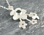 Tourmaline Sterling Silver Necklace , Flowers Necklace Spring BlossomTourmaline Jewelry Green Tourmaline Pendant , Tourmaline Necklace