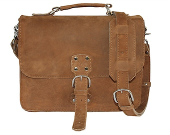 Made In USA! Indiana Leather Satchel - Indiana Jones Bag Pouch Distressed, Rugged Cognac