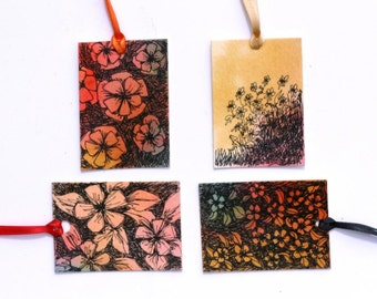 All occasion watercolor gift tags and artist labels original set of 4 with flowers abstract art and landscape