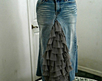 Ruffled taupe ballroom jean skirt tulle Renaissance Denim Couture fairy goddess mermaid belle bohémienne Made to Order