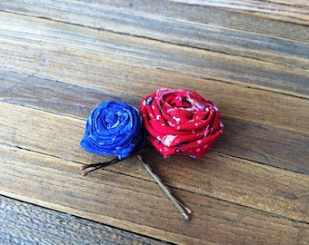 Red and blue fabric rosette bobby pins