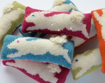 Pincushion- Knitted Bunny Pincushion-Rabbit Pincushion- Knitted Pincushion-Lambswool-Pin cushion- Pink-Orange-Blue-White-Green- Sewing Kit