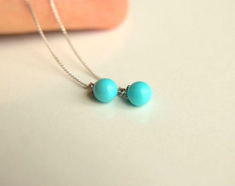 Earrings: 925k sterling silver earrings, chains with turquoise colored mallorca pearl  gift for  wedding, dangle earrings, majorca